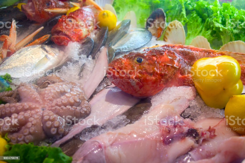 Seafood decoration with Acadian redfish stock photo