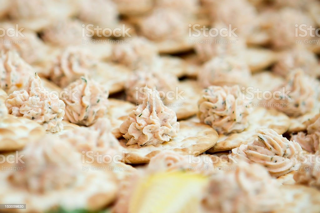 seafood dip on crackers stock photo