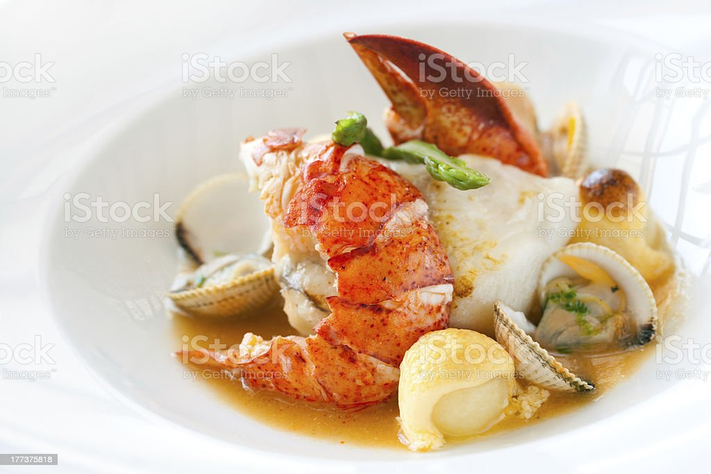 Seafood dish with lobster. stock photo