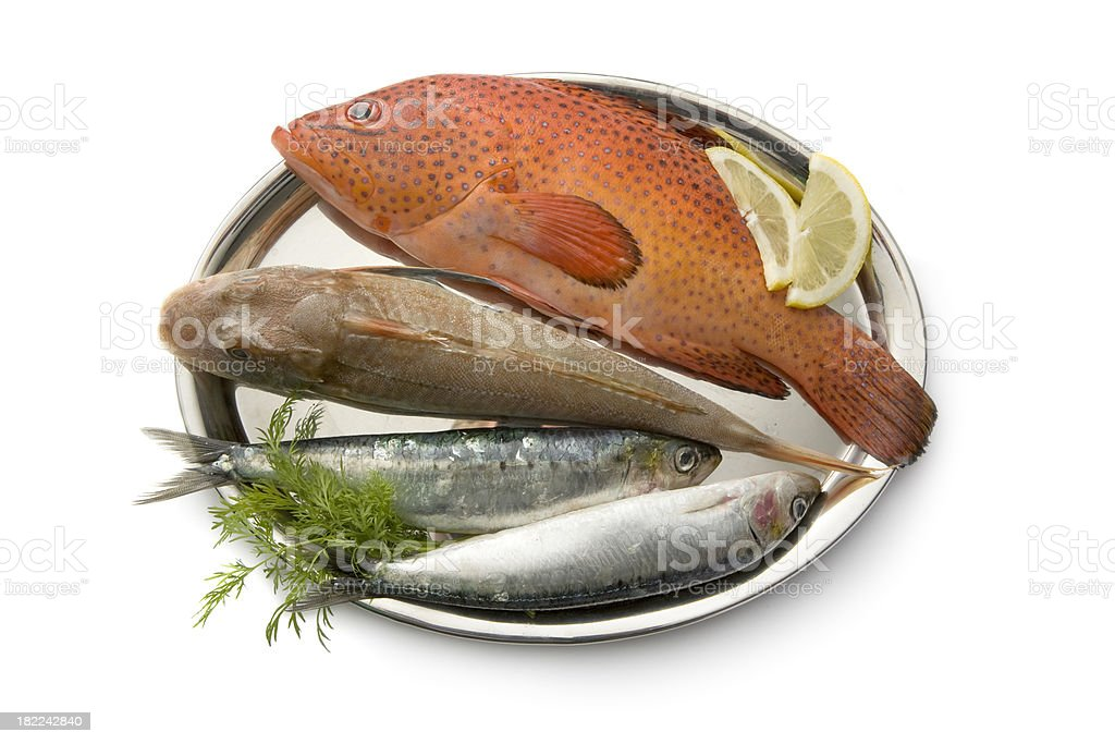 Seafood: Fish in Silver Dish royalty-free stock photo