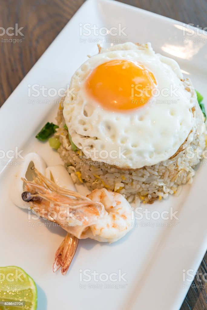 Seafood fried rice stock photo