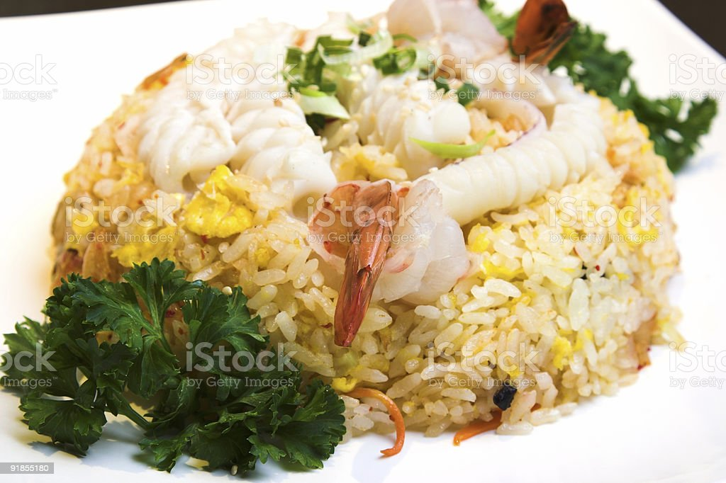Seafood Fried Rice royalty-free stock photo