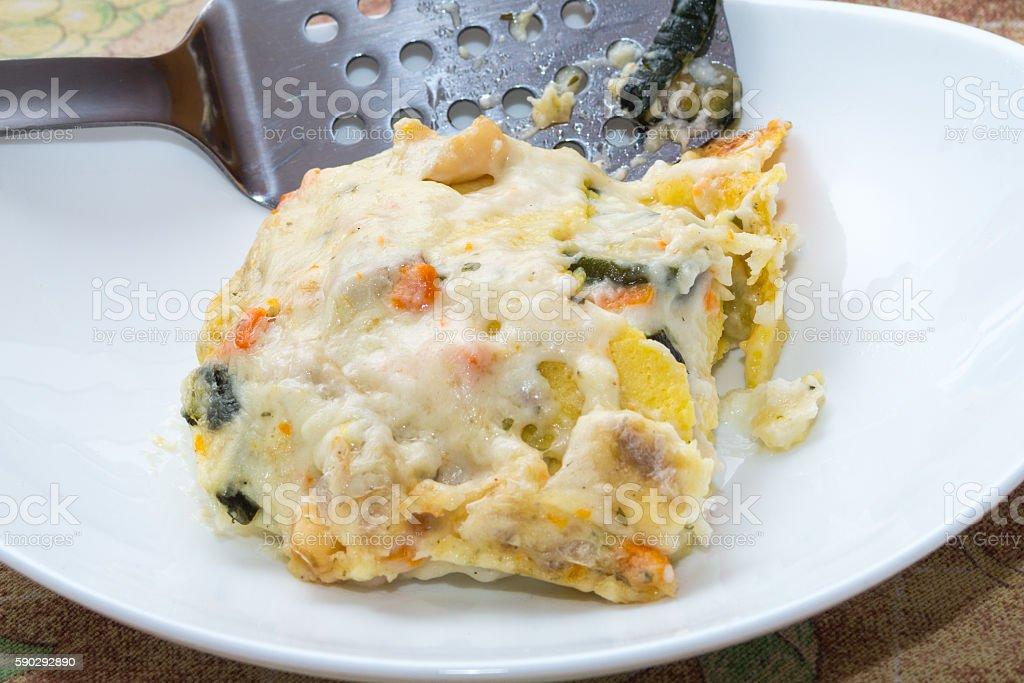 Seafood lasagna, lasagna to the taste of the sea royaltyfri bildbanksbilder