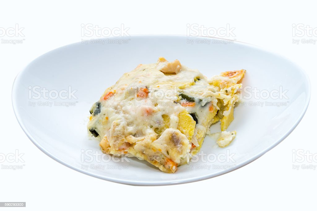 Seafood lasagna, lasagna to the taste of the sea royaltyfri bildbanksbilder