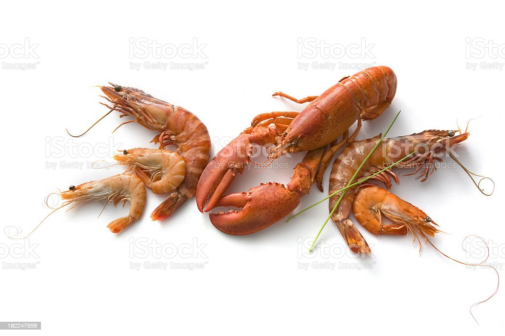Seafood: Lobster, Prawns and Shrimps stock photo