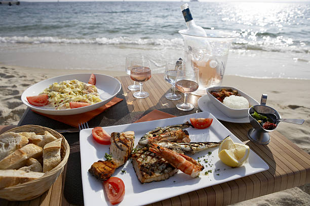 Seafood Lunch by the Sea stock photo