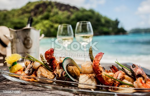 Lunch on the beach of Seychelles