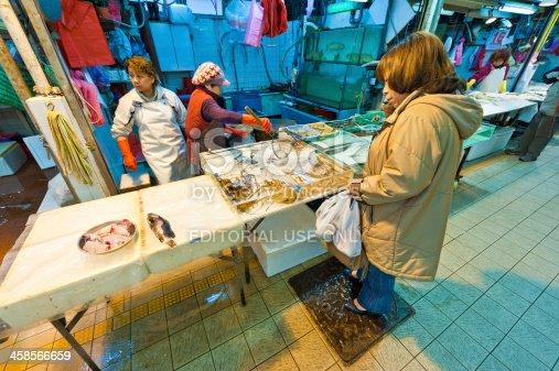 istock Seafood market fresh fish stall Hong Kong 458566659