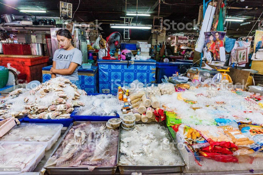 Seafood market stall stock photo