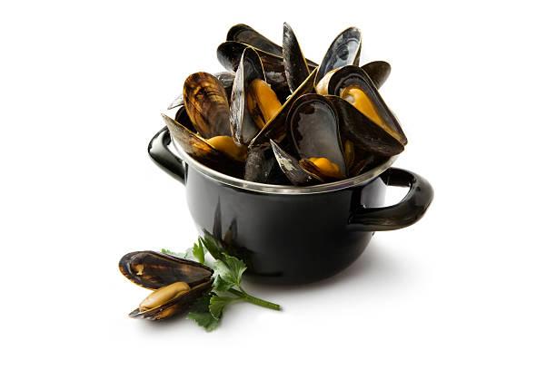 restaurant de fruits de mer: moules - moules photos et images de collection