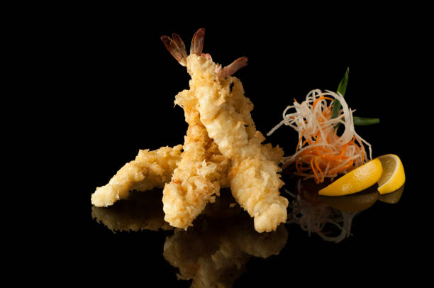 seafood on a black background - tempura imagens e fotografias de stock