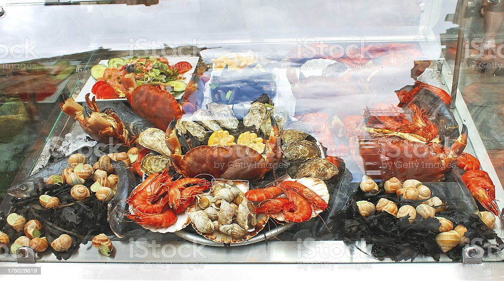 Seafood on display in the restaurant. royalty-free stock photo