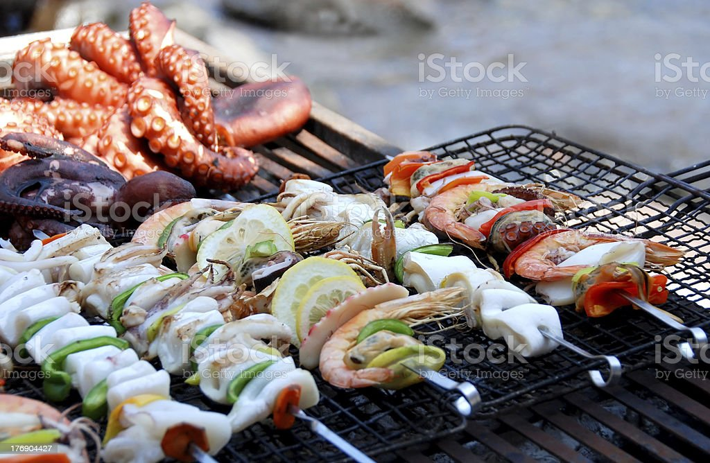 Seafood on grill stock photo