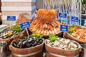 Variety of Seafood on ice buffet bar