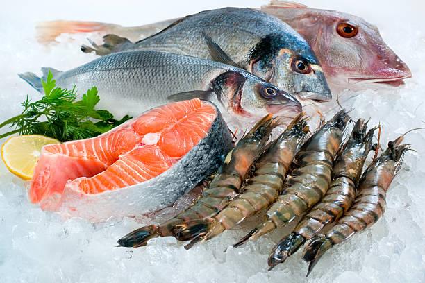 seafood on ice - fisk och skaldjur bildbanksfoton och bilder