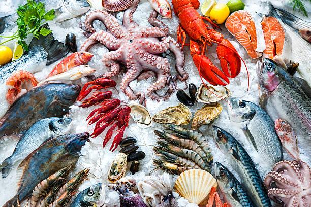 シーフードを氷  - 魚介類 ストックフォトと画像