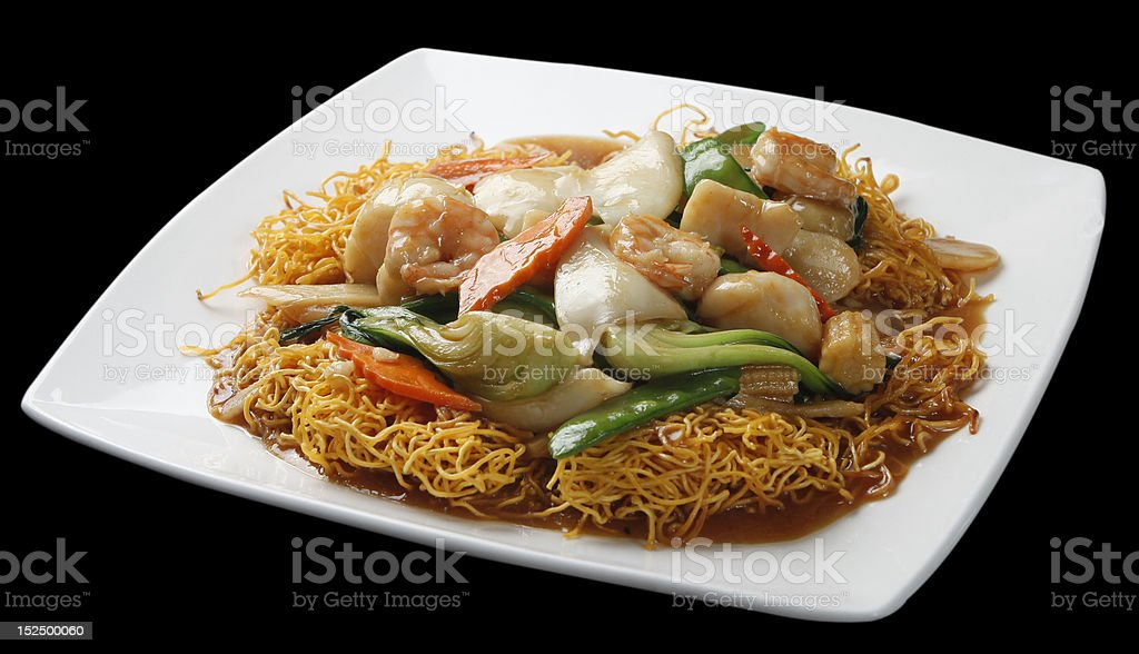 seafood on top of fired noodle stock photo
