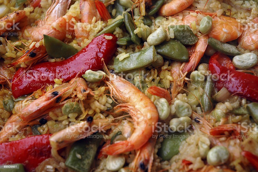 Seafood paella close-up royalty-free stock photo