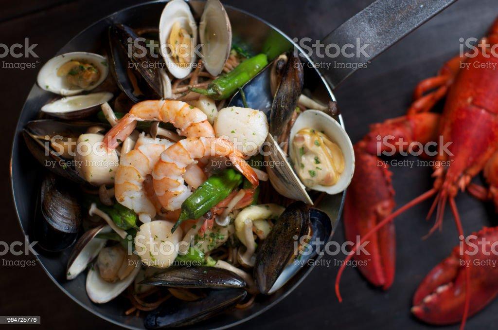 seafood pasta royalty-free stock photo