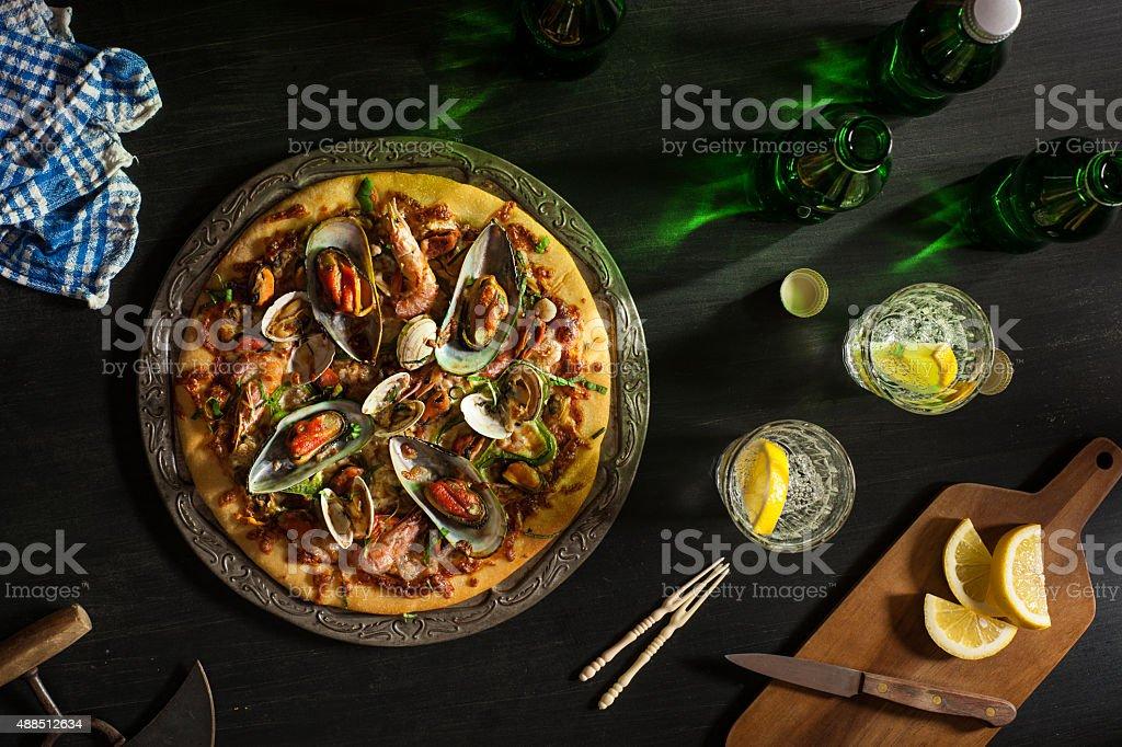 Meeresfrüchte-Pizza Lizenzfreies stock-foto