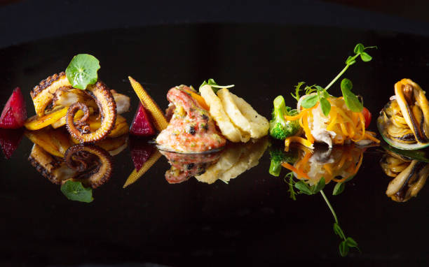 prato de frutos do mar - fine dining - fotografias e filmes do acervo