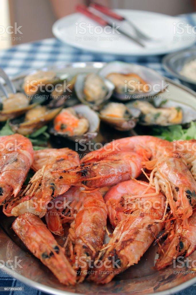 Seafood Plates stock photo