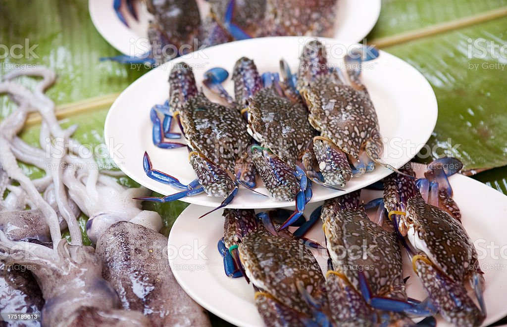 Seafood plates waiting to be barbecued stock photo
