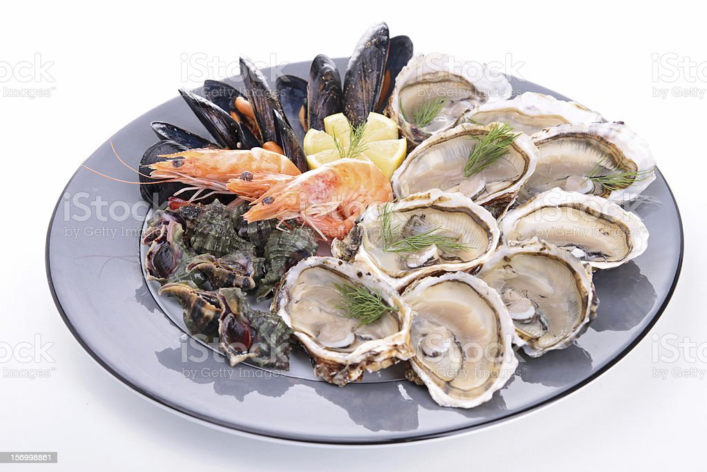 seafood platter on white stock photo