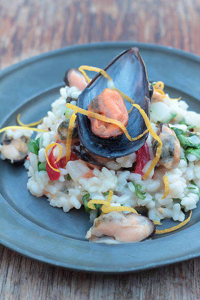 Seafood risotto. stock photo