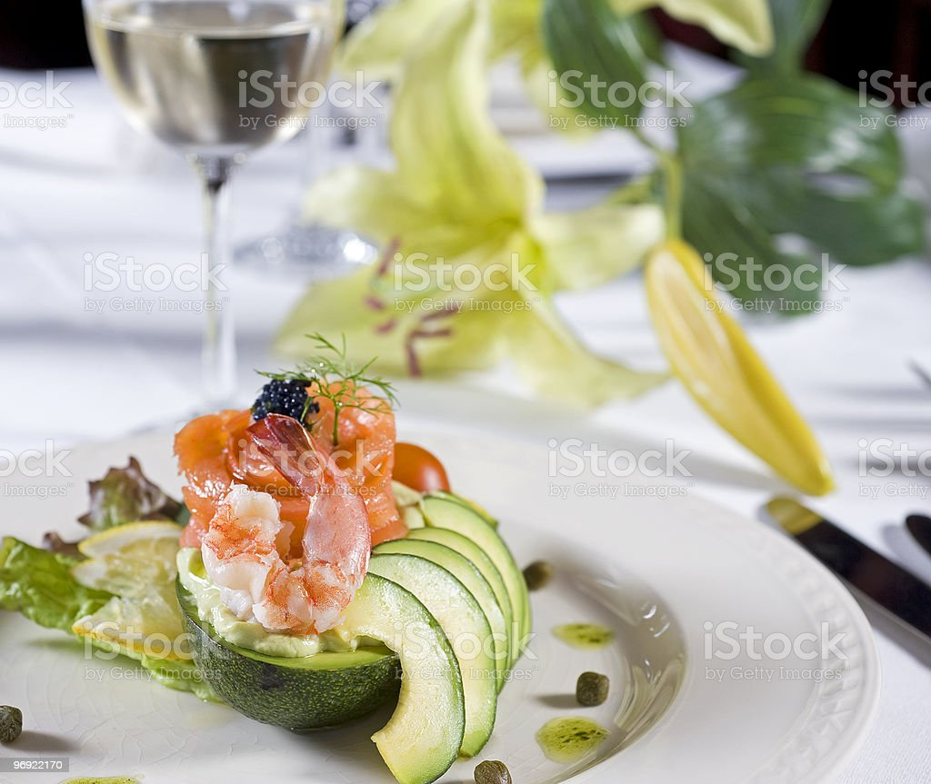 Seafood salad a la carte appetizer royalty-free stock photo