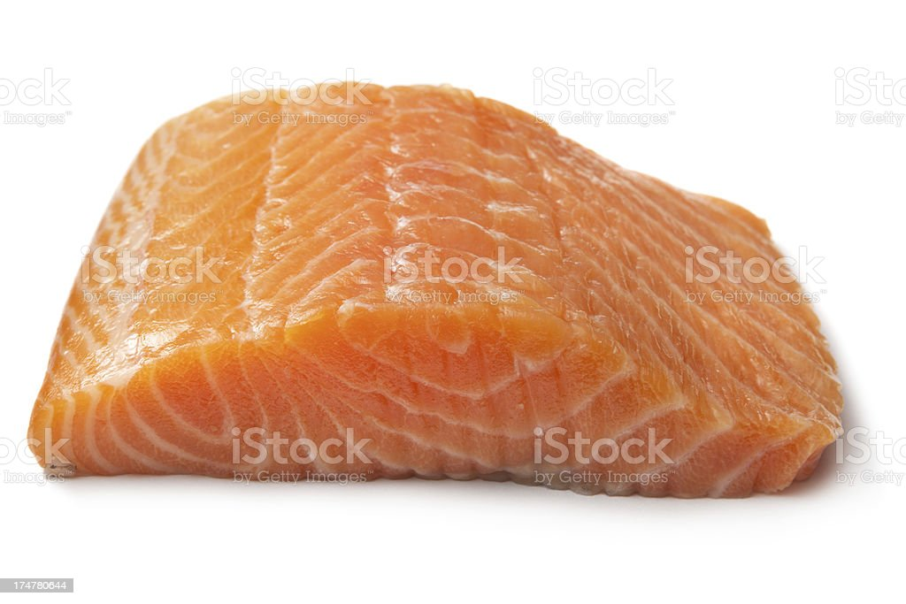 Seafood: Salmon Isolated on White Background stock photo
