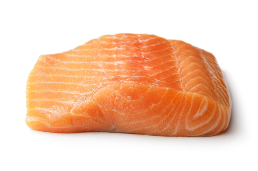 Seafood: Salmon Isolated on White Background