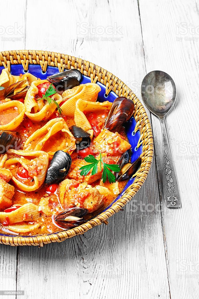 seafood sauce and mussels royalty-free stock photo