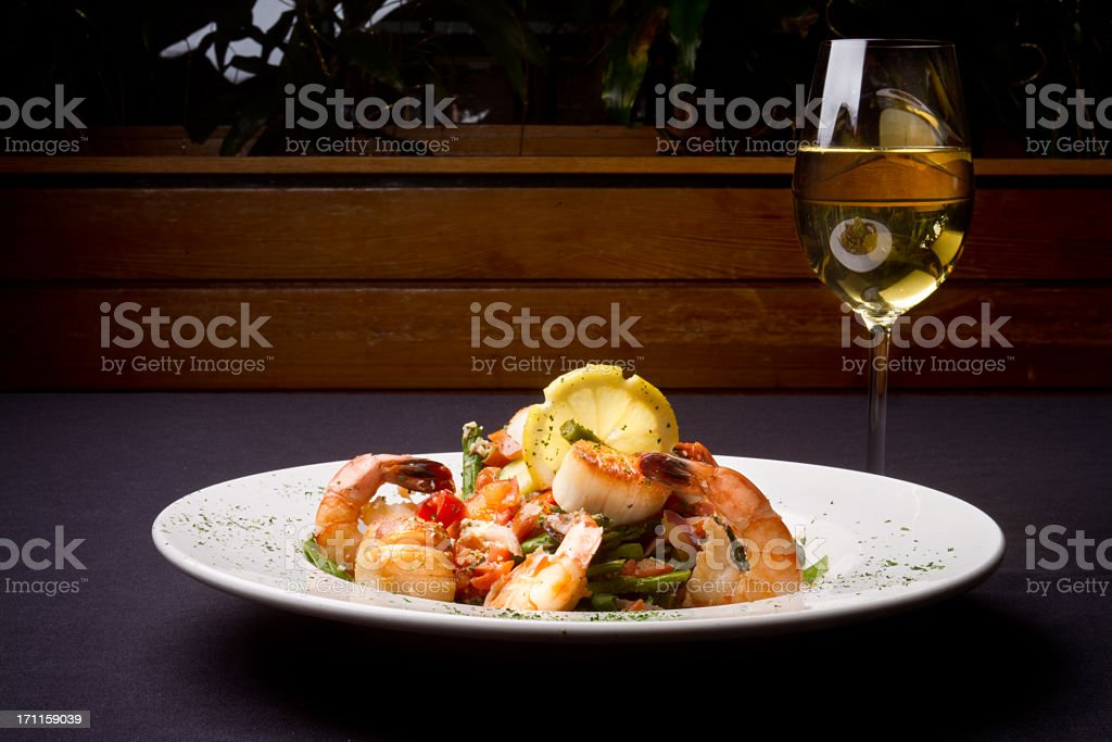 Seafood Scampi and White Wine stock photo