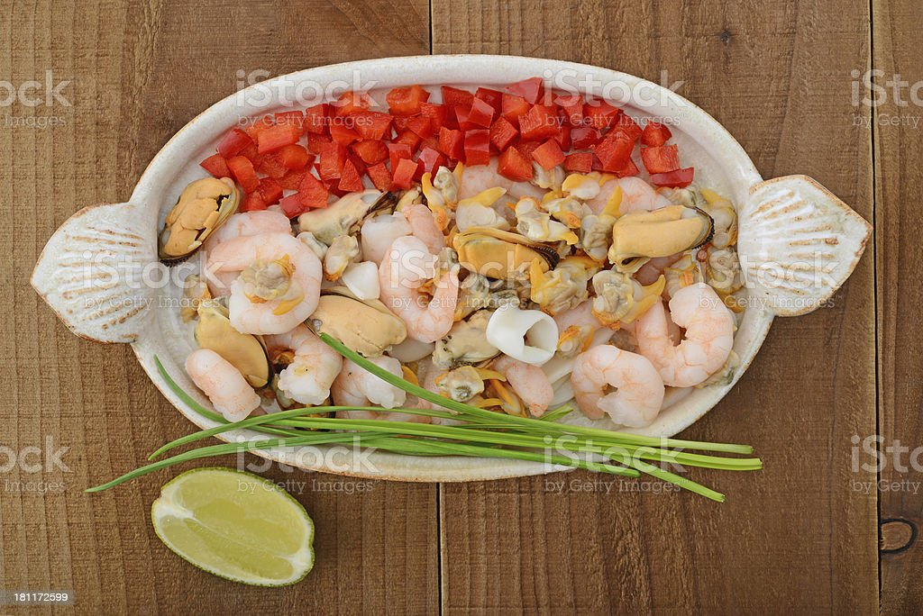 Seafood selection on ceramic plate royalty-free stock photo