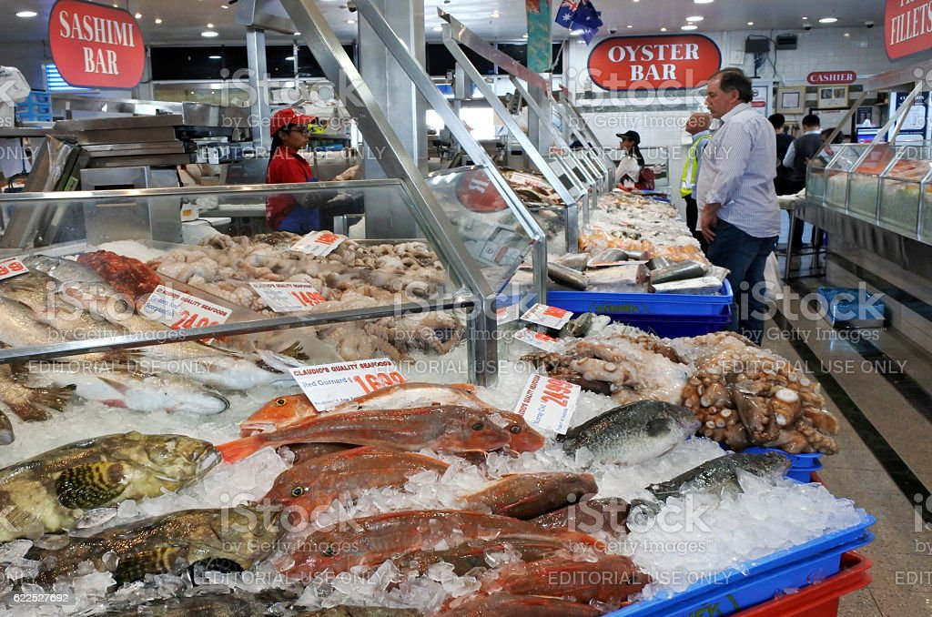 Seafood shop in sydney fish market sydney australia stock for Fish market prices