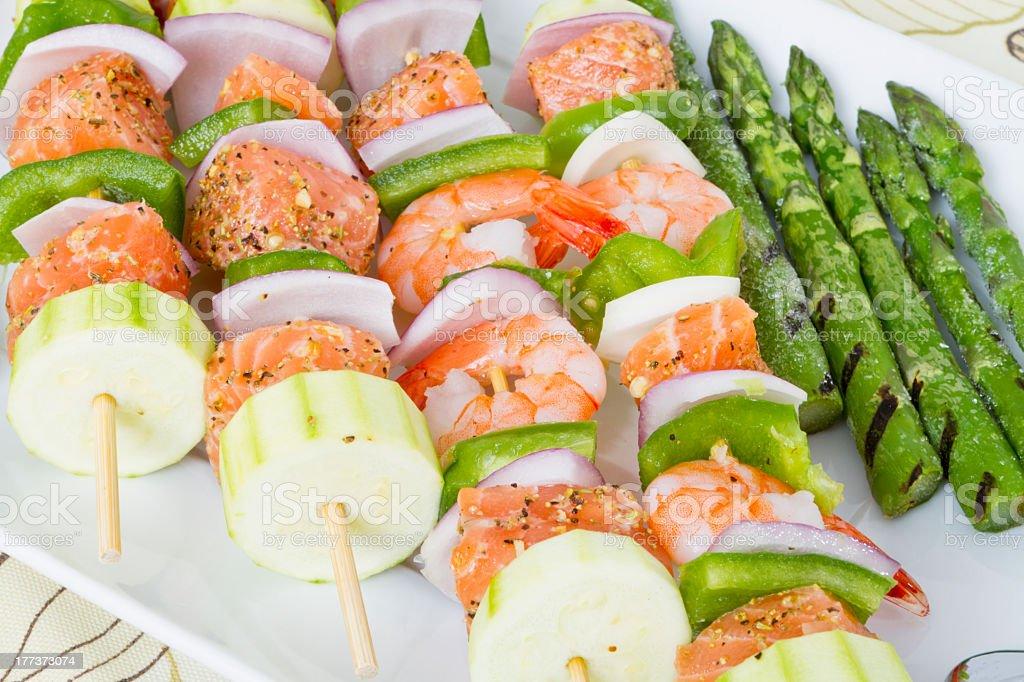 Seafood Skewers royalty-free stock photo