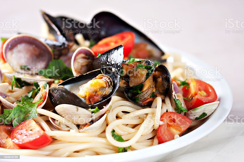 Seafood spaghetti royalty-free stock photo