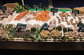 Seafood table in a Spanish market. Food photography.