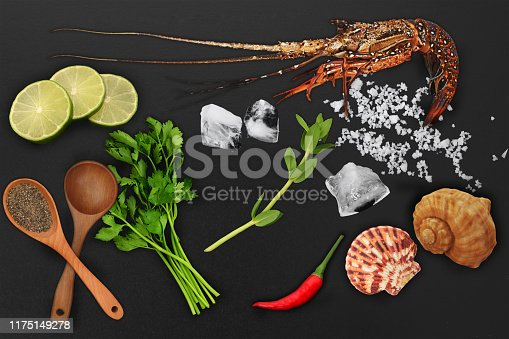 Seafood theme collage, spiny lobster with ingredients for cook