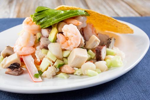 seafood tostada plate