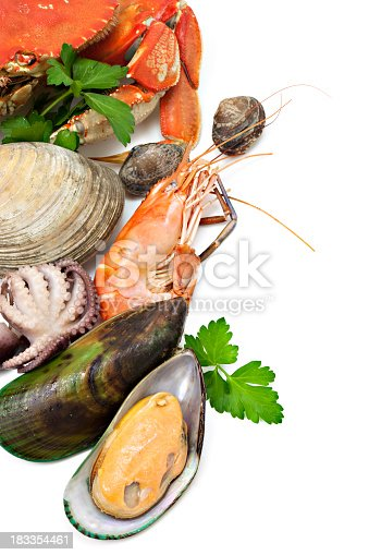 Seafood variety with crab, clams, mussel, prawn and baby octopus