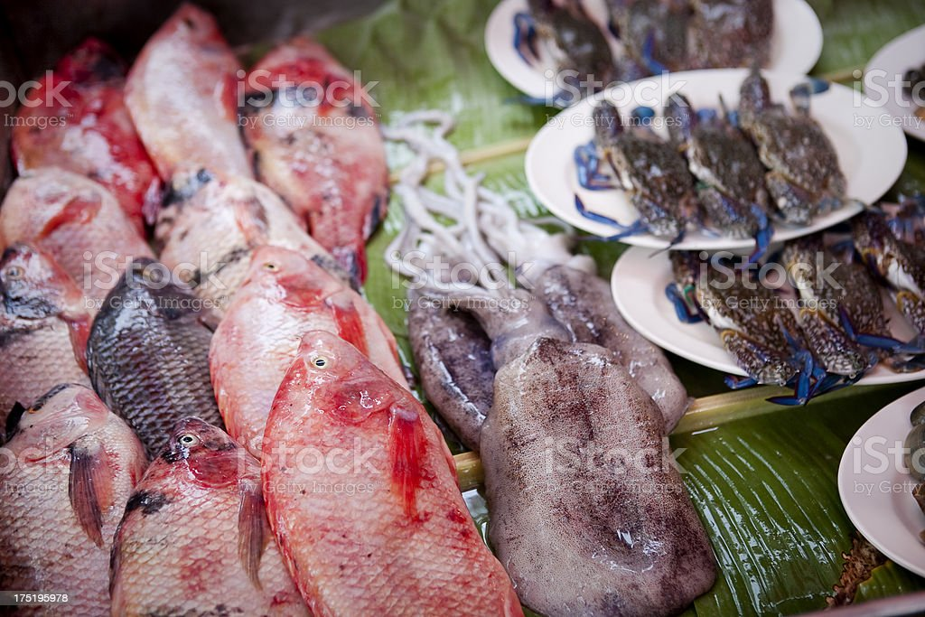 Seafood waiting to be barbecued stock photo
