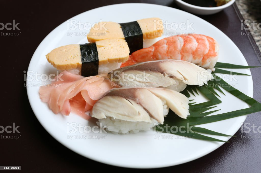 Seafoods Sushi on white dish in the restaurant. 免版稅 stock photo