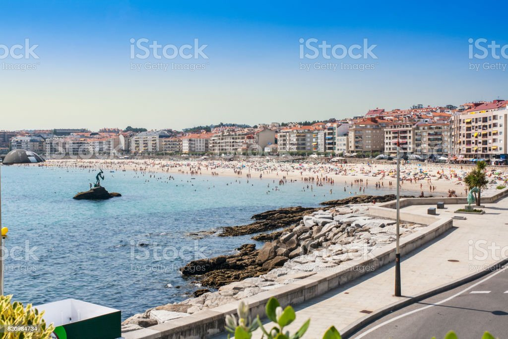 Seafront and beach in Sanxenxo stock photo