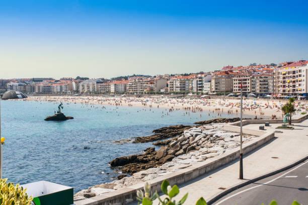 Seafront and beach in Sanxenxo stock photo