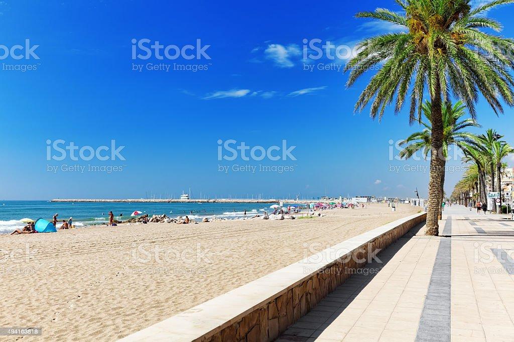 Seafront, beach,coast in Spain. stock photo