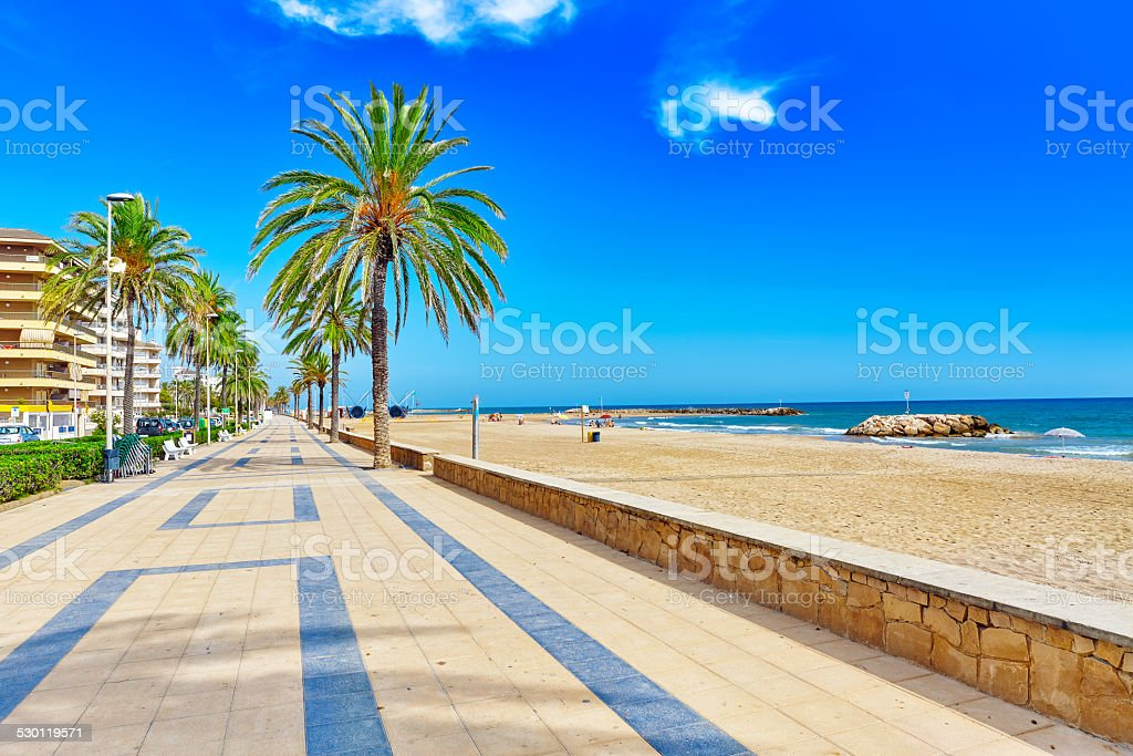 Seafront, beach,coast in Spain. stock photo