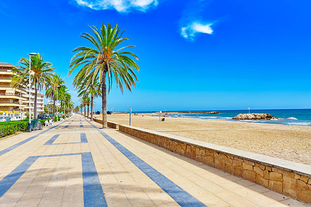 Seafront, beach,coast in Spain. Seafront, beach,coast in Spain. Suburb of Barcelona, Catalonia promenade stock pictures, royalty-free photos & images
