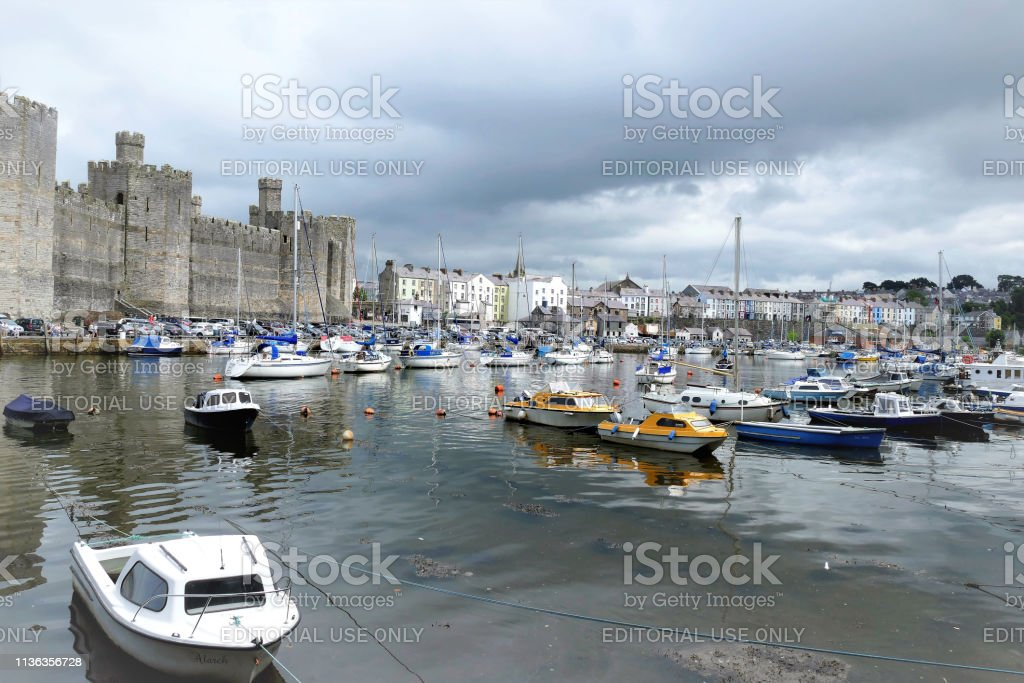 Seafront, Caernarfon, Wales, UK. stock photo
